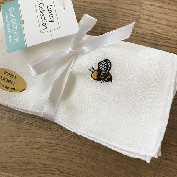 Bee embroidered linen hankies