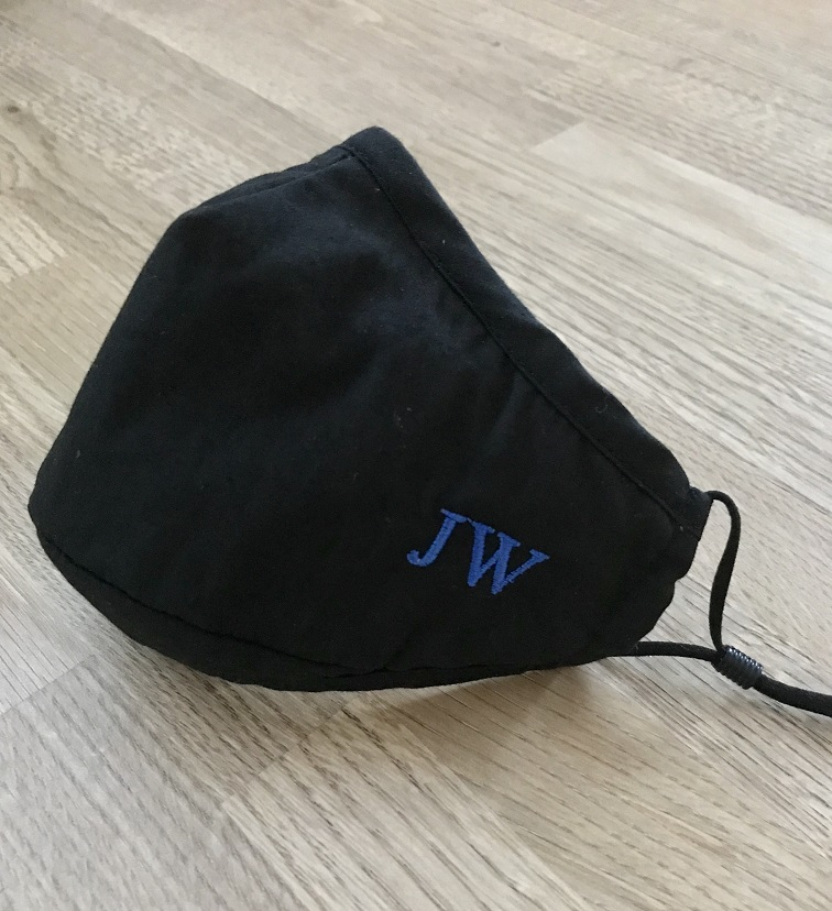 Personalised Mask/Face Covering in Black Cotton