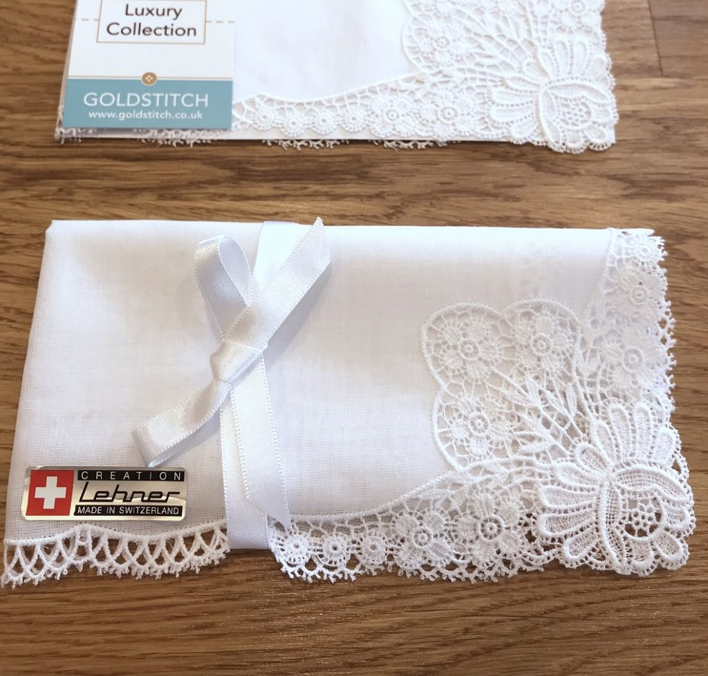 Message Lehner Flowers Lace Handkerchief