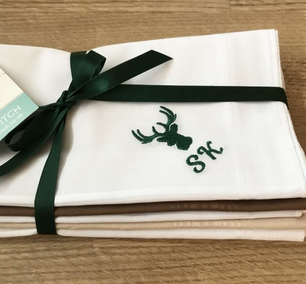 Stag embroiderd hankies