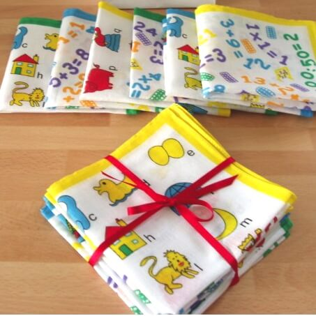 children's hankies. alphabet handkerchief, luxury cotton, personalised hankie, add initials or name, school hankie,