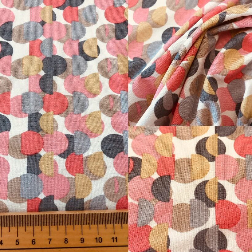Fabric Coral Spot Viscose Jersey