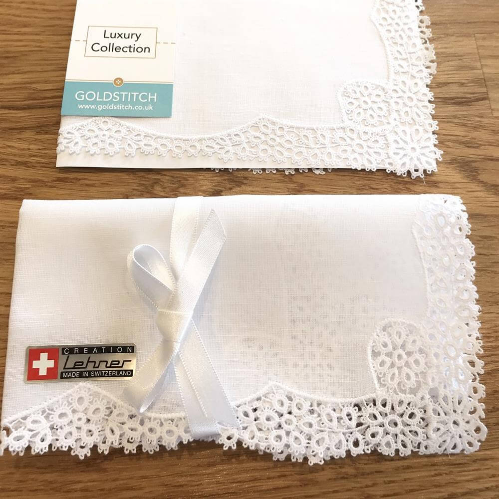 Message Luxury Cotton Daisy Lace Handkerchief