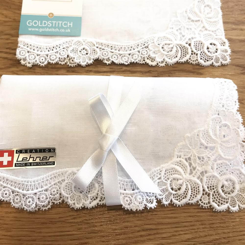 Message Luxury Cotton Lace Handkerchief
