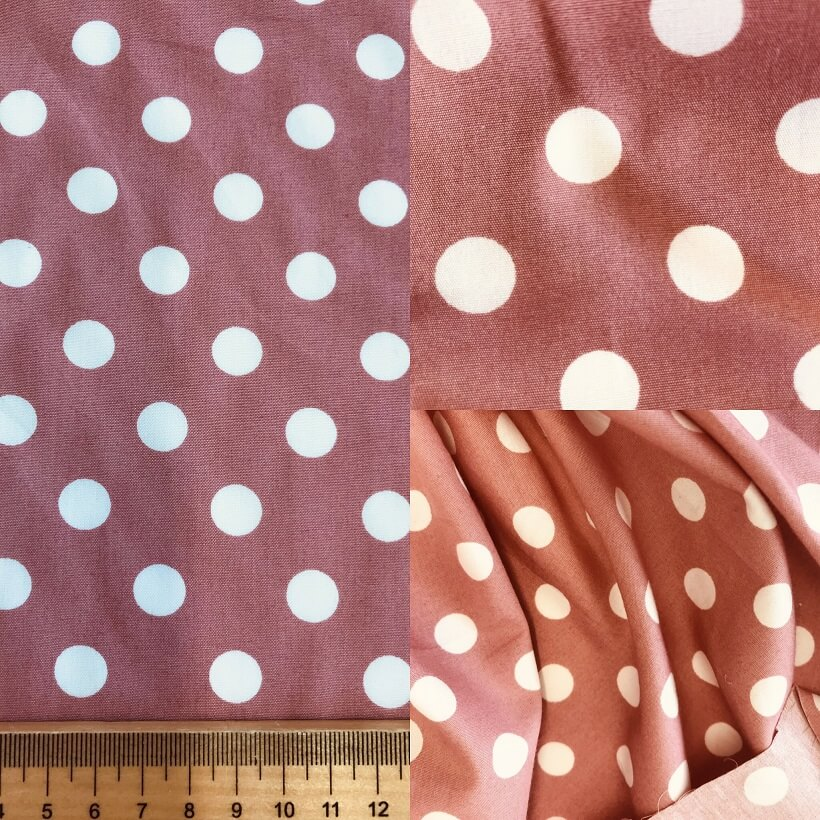 Fabric Rose Pink Polka Dot