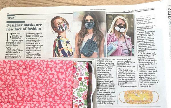 The times article on designer face masks