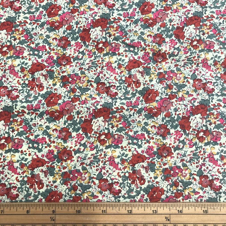 Fabric Liberty Cotton Lawn Rose Leaf Print