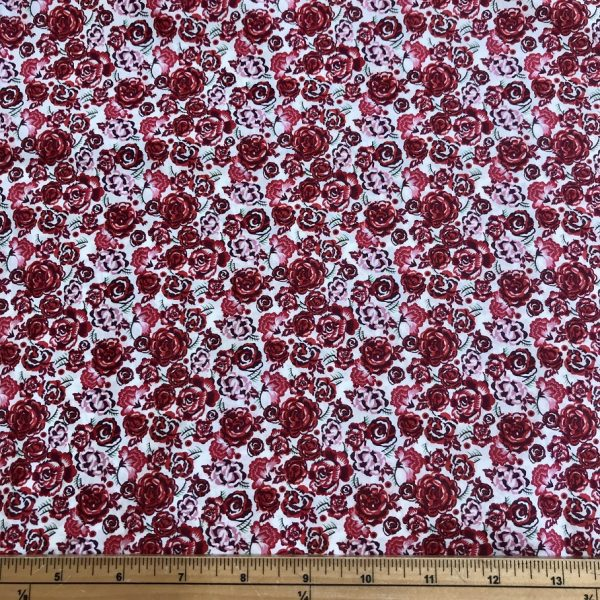 Red rose cotton lawn