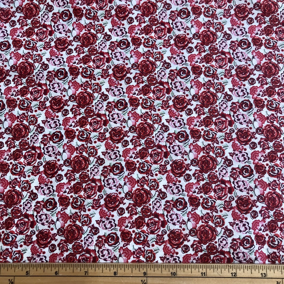 Fabric Liberty Cotton Lawn Red Rose Design