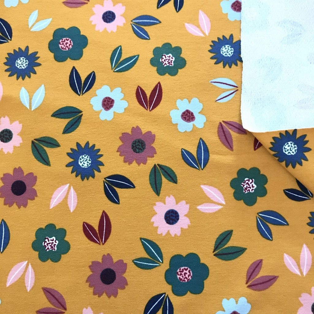 Fabric Ochre Jersey Flowers