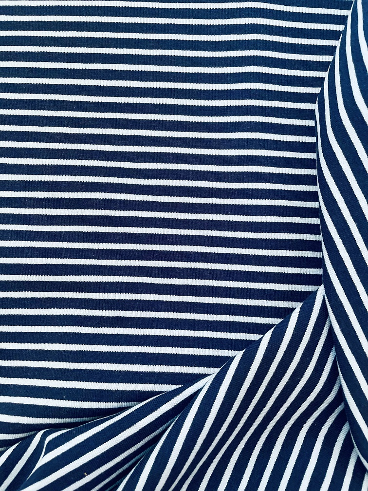 Fabric Breton Fine Stripe Navy & Blue Jersey