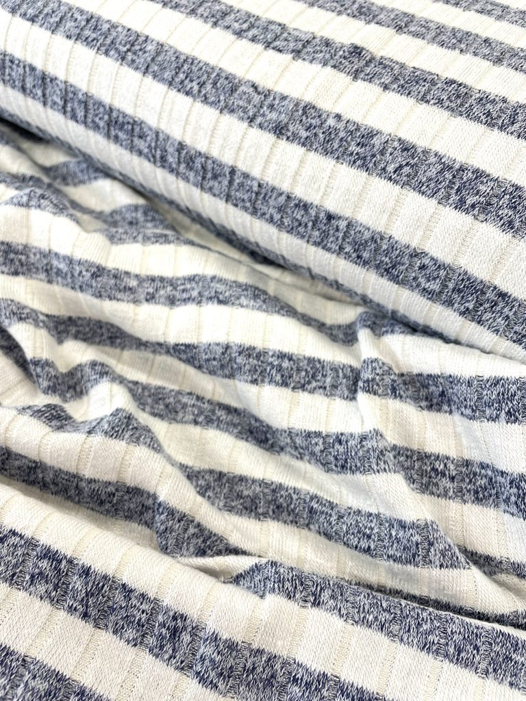 Fabric Breton Navy & Natural Stripe Rib