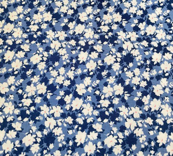 blue cotton floral fabric