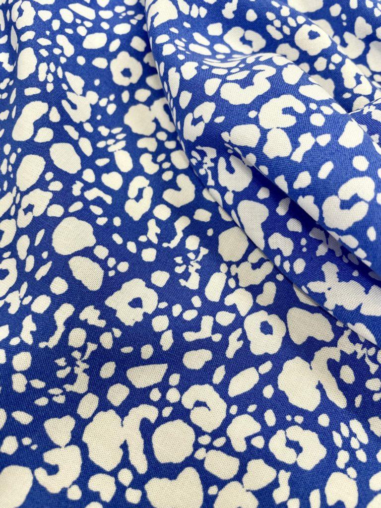 Fabric Blue & White Viscose Print