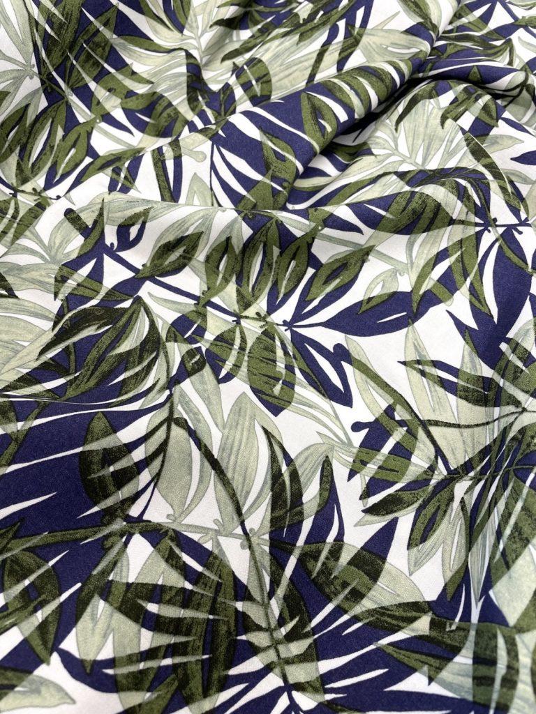 Fabric Green & Navy Palm Viscose Print